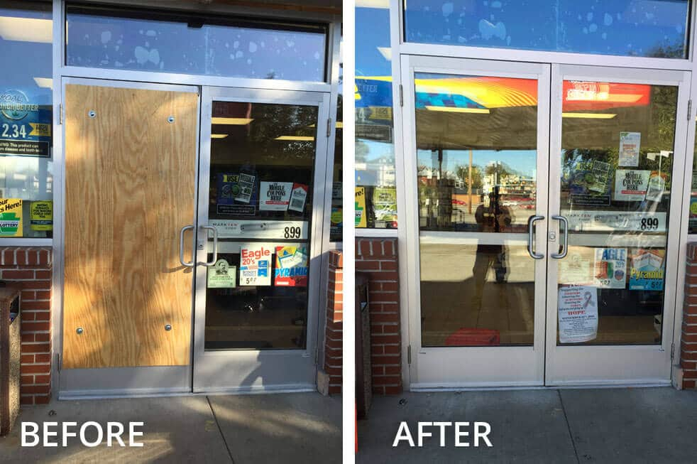 This local gas station had their front glass door shattered, so they had us install a new pane of glass in its place.