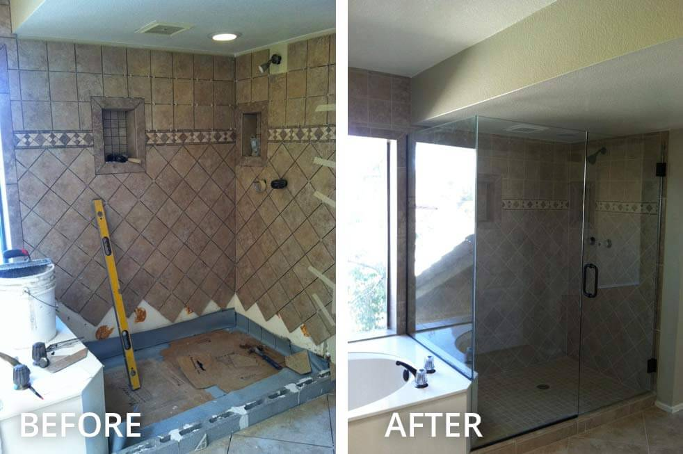 Before and After Shower Glass New Construction