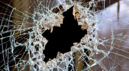 If your home or business has a shattered glass window like this one, give us a call for emergency glass repairs here in Pittsburgh.