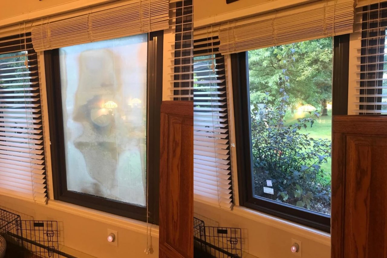 This before-and-after image shows how replacing the window cleared up the fogging problem.